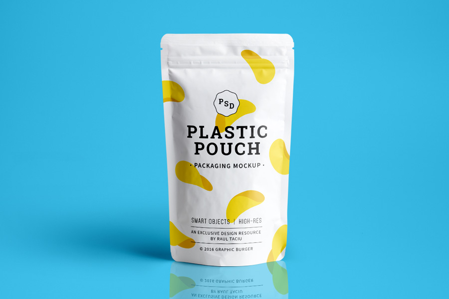 Plastic Pouch Packaging Mockup Graphic Ghost
